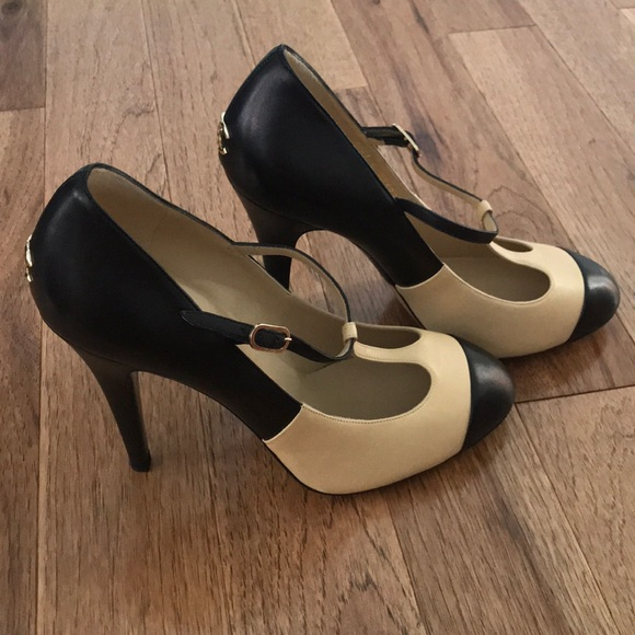 9579a0cfd7 CHANEL Shoes   Two Toned Nude And Black Tstrap Heels 405   Poshmark